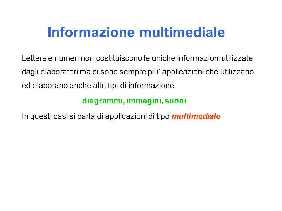 Informazione multimediale Lettere e numeri non costituiscono le uniche informazioni utilizzate dagli elaboratori ma ci sono sempre piu' applicazioni c