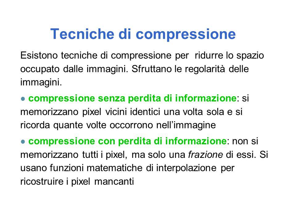 Tecniche di compressione Esistono tecniche di compressione per ridurre lo spazio occupato dalle immagini. Sfruttano le regolarità delle immagini. l co