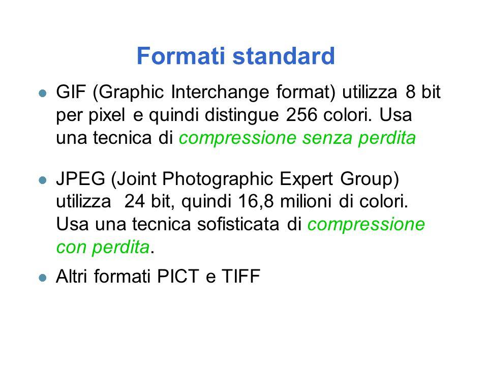 Formati standard l GIF (Graphic Interchange format) utilizza 8 bit per pixel e quindi distingue 256 colori. Usa una tecnica di compressione senza perd