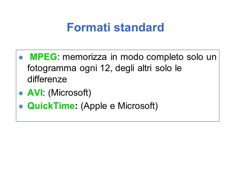 Formati standard l MPEG: memorizza in modo completo solo un fotogramma ogni 12, degli altri solo le differenze l AVI: (Microsoft) l QuickTime: (Apple