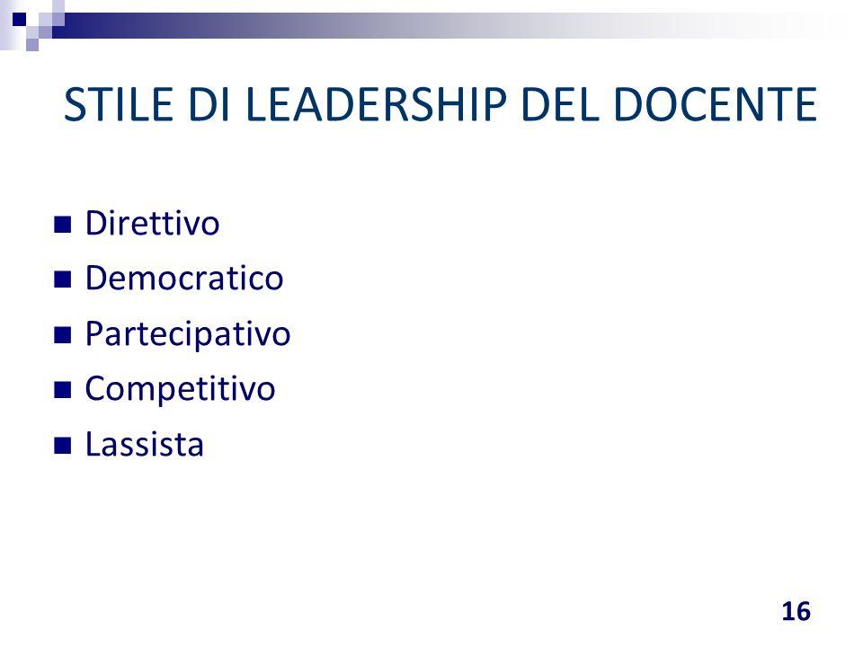 STILE DI LEADERSHIP DEL DOCENTE Direttivo Democratico Partecipativo Competitivo Lassista 16