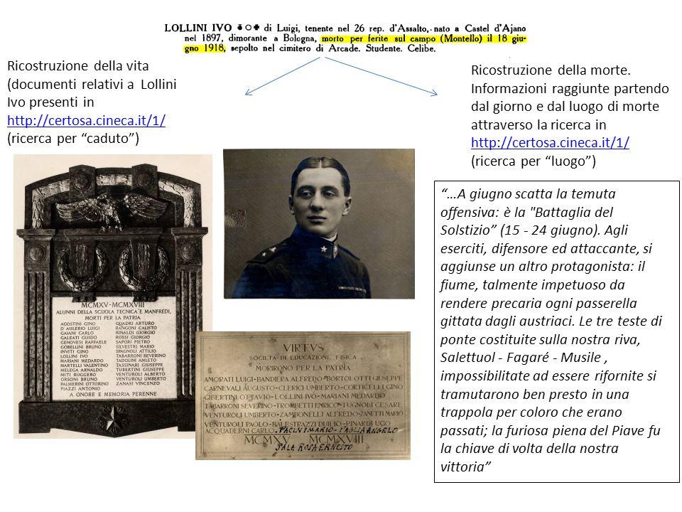 """Ricostruzione della vita (documenti relativi a Lollini Ivo presenti in http://certosa.cineca.it/1/ (ricerca per """"caduto"""") Ricostruzione della morte. I"""