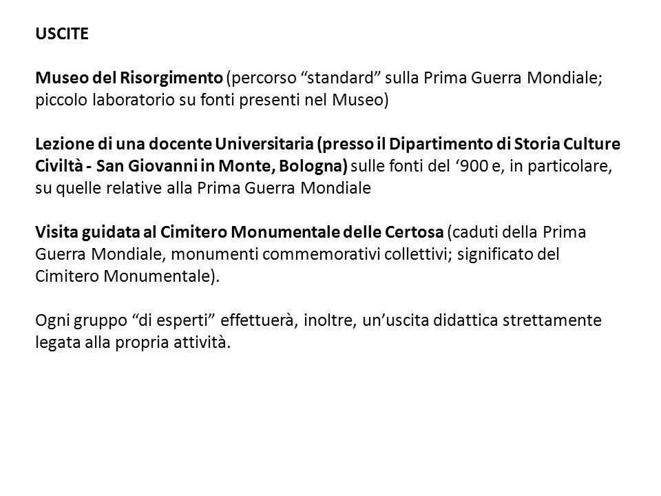 """USCITE Museo del Risorgimento (percorso """"standard"""" sulla Prima Guerra Mondiale; piccolo laboratorio su fonti presenti nel Museo) Lezione di una docent"""