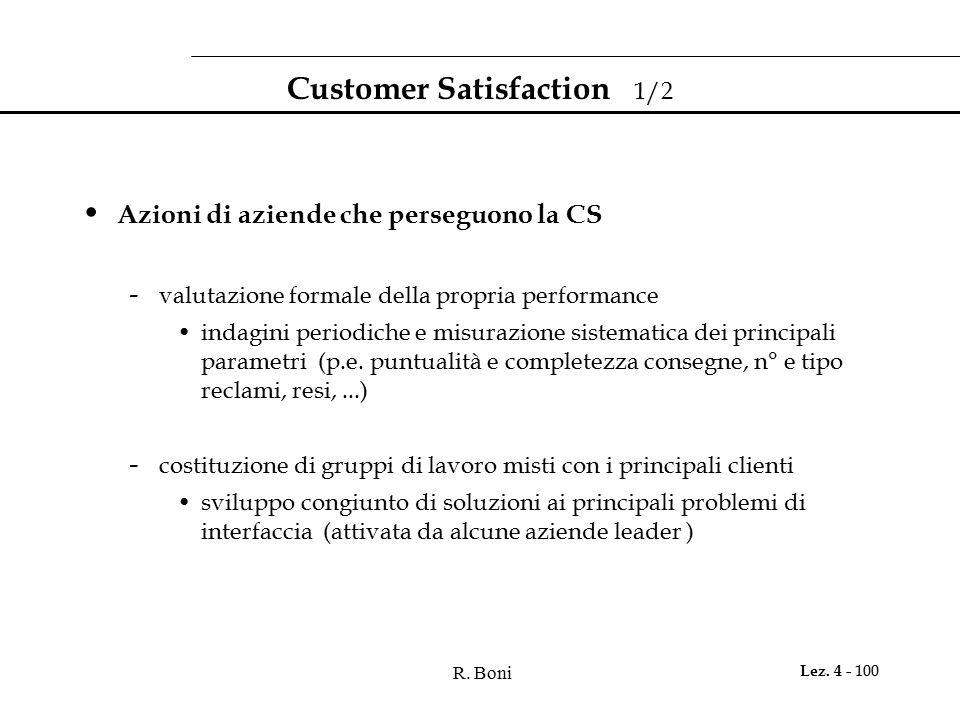 R. Boni Lez. 4 - 100 Customer Satisfaction 1/2 Azioni di aziende che perseguono la CS - valutazione formale della propria performance indagini periodi