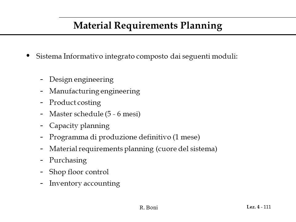 R. Boni Lez. 4 - 111 Material Requirements Planning Sistema Informativo integrato composto dai seguenti moduli: - Design engineering - Manufacturing e