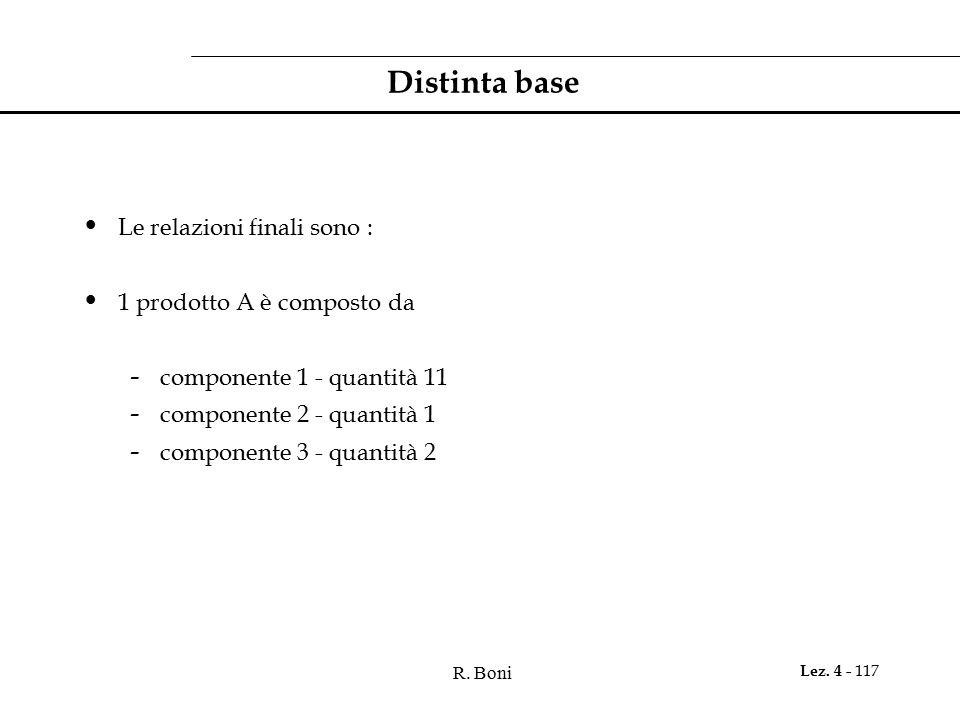 R. Boni Lez. 4 - 117 Distinta base Le relazioni finali sono : 1 prodotto A è composto da - componente 1 - quantità 11 - componente 2 - quantità 1 - co
