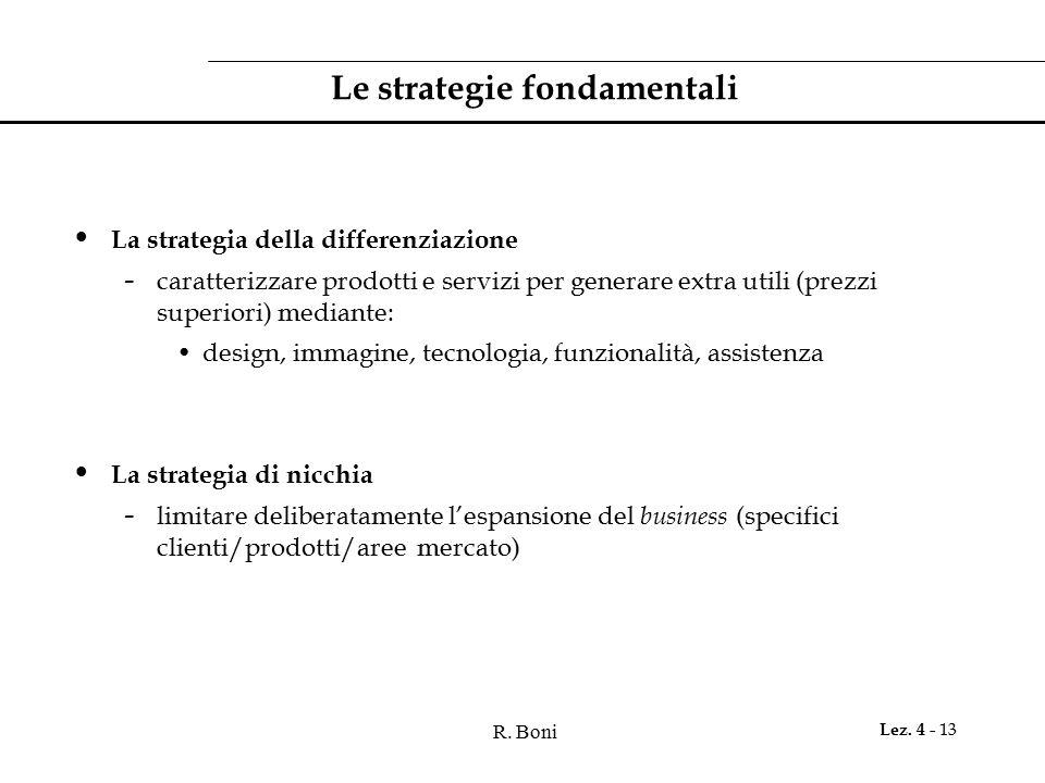 R. Boni Lez. 4 - 13 Le strategie fondamentali La strategia della differenziazione - caratterizzare prodotti e servizi per generare extra utili (prezzi