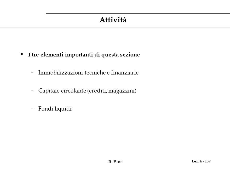 R. Boni Lez. 4 - 139 Attività I tre elementi importanti di questa sezione - Immobilizzazioni tecniche e finanziarie - Capitale circolante (crediti, ma