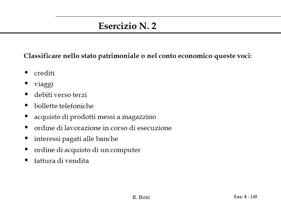 R. Boni Lez. 4 - 148 Esercizio N. 2 Classificare nello stato patrimoniale o nel conto economico queste voci : crediti viaggi debiti verso terzi bollet