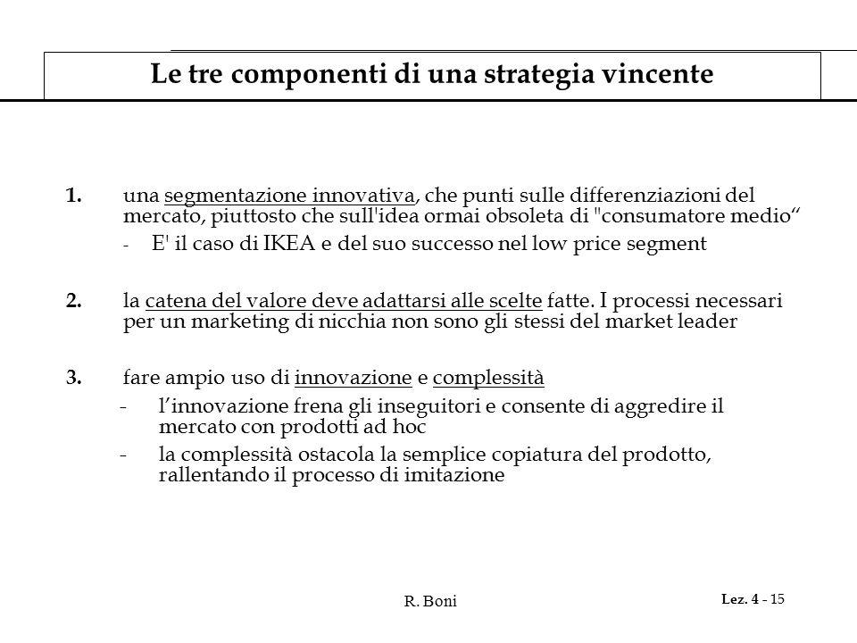 R. Boni Lez. 4 - 15 Le tre componenti di una strategia vincente 1. una segmentazione innovativa, che punti sulle differenziazioni del mercato, piuttos