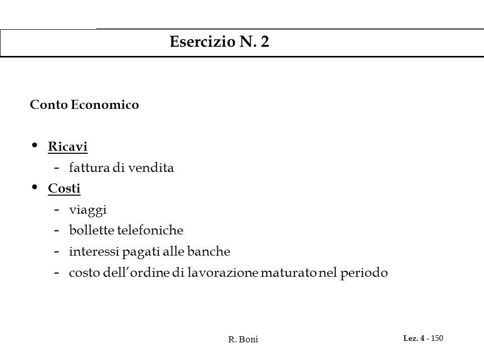 R. Boni Lez. 4 - 150 Esercizio N. 2 Conto Economico Ricavi - fattura di vendita Costi - viaggi - bollette telefoniche - interessi pagati alle banche -