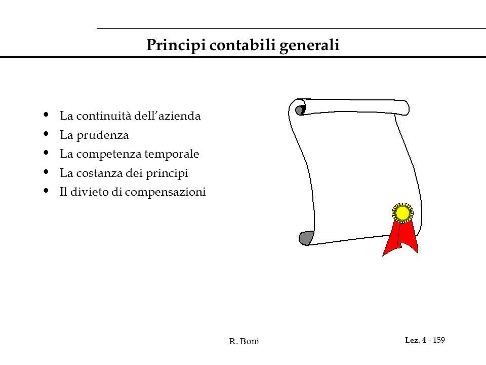 R. Boni Lez. 4 - 159 Principi contabili generali La continuità dell'azienda La prudenza La competenza temporale La costanza dei principi Il divieto di