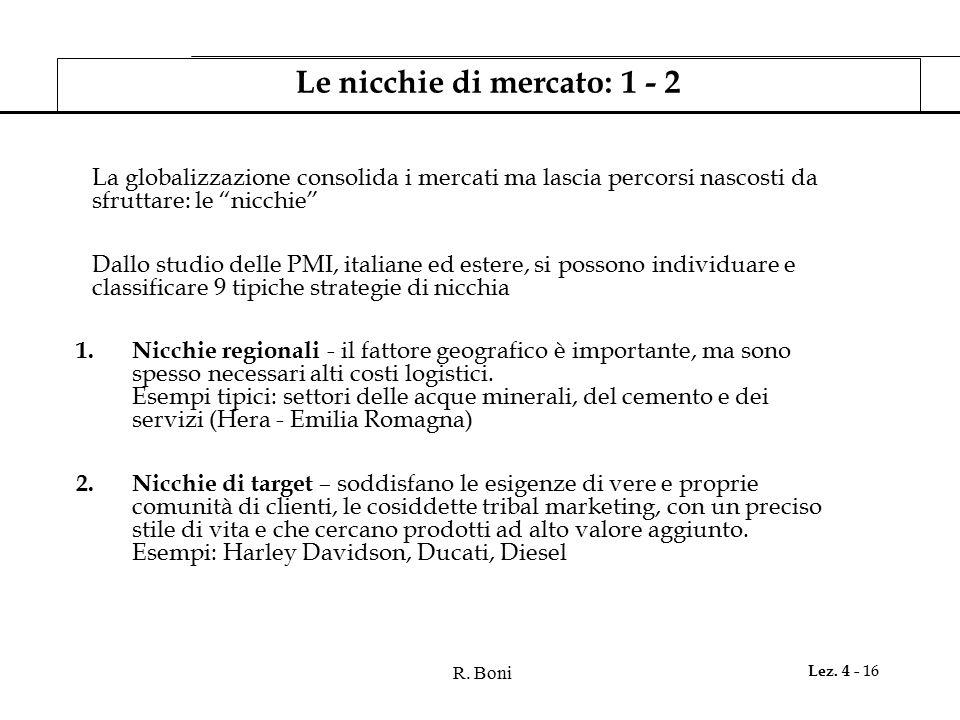 """R. Boni Lez. 4 - 16 Le nicchie di mercato: 1 - 2 La globalizzazione consolida i mercati ma lascia percorsi nascosti da sfruttare: le """"nicchie"""" Dallo s"""