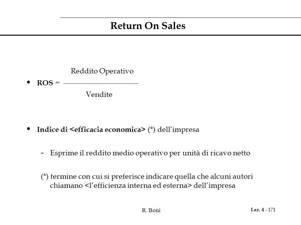R. Boni Lez. 4 - 171 Return On Sales Reddito Operativo ROS = ------------------------------ Vendite Indice di (*) dell'impresa - Esprime il reddito me