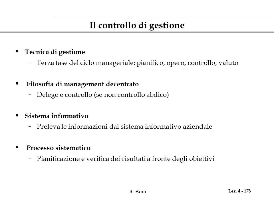 R. Boni Lez. 4 - 178 Il controllo di gestione Tecnica di gestione - Terza fase del ciclo manageriale: pianifico, opero, controllo, valuto Filosofia di
