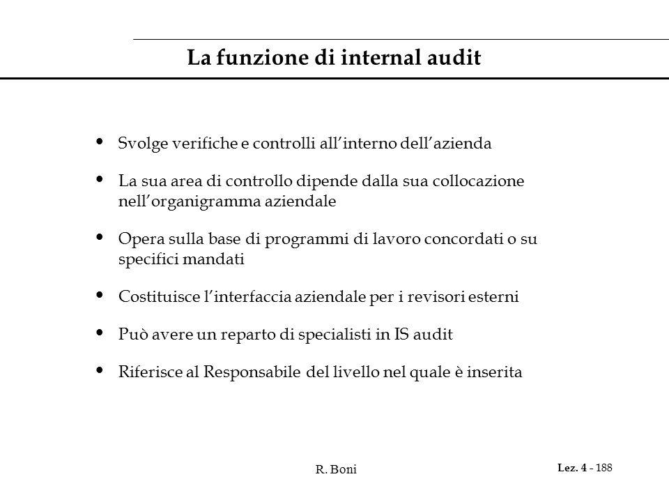 R. Boni Lez. 4 - 188 La funzione di internal audit Svolge verifiche e controlli all'interno dell'azienda La sua area di controllo dipende dalla sua co