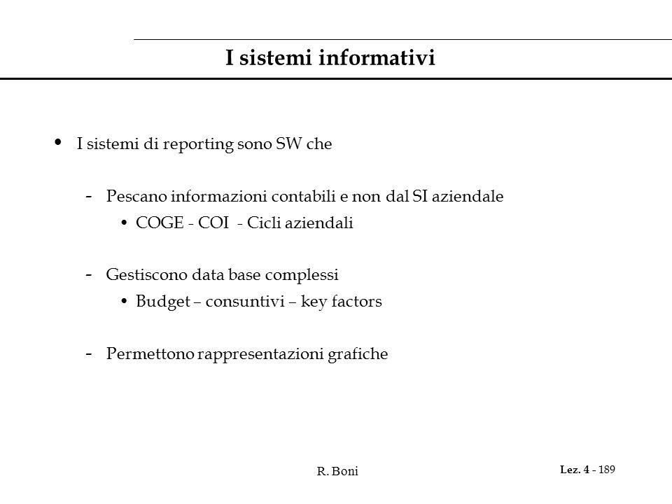 R. Boni Lez. 4 - 189 I sistemi informativi I sistemi di reporting sono SW che - Pescano informazioni contabili e non dal SI aziendale COGE - COI - Cic