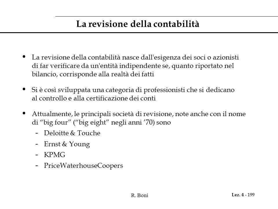 R. Boni Lez. 4 - 199 La revisione della contabilità La revisione della contabilità nasce dall'esigenza dei soci o azionisti di far verificare da un'en