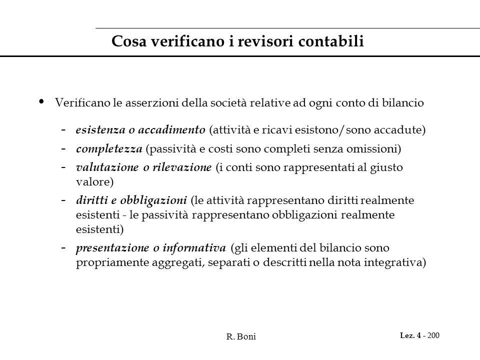 R. Boni Lez. 4 - 200 Cosa verificano i revisori contabili Verificano le asserzioni della società relative ad ogni conto di bilancio - esistenza o acca