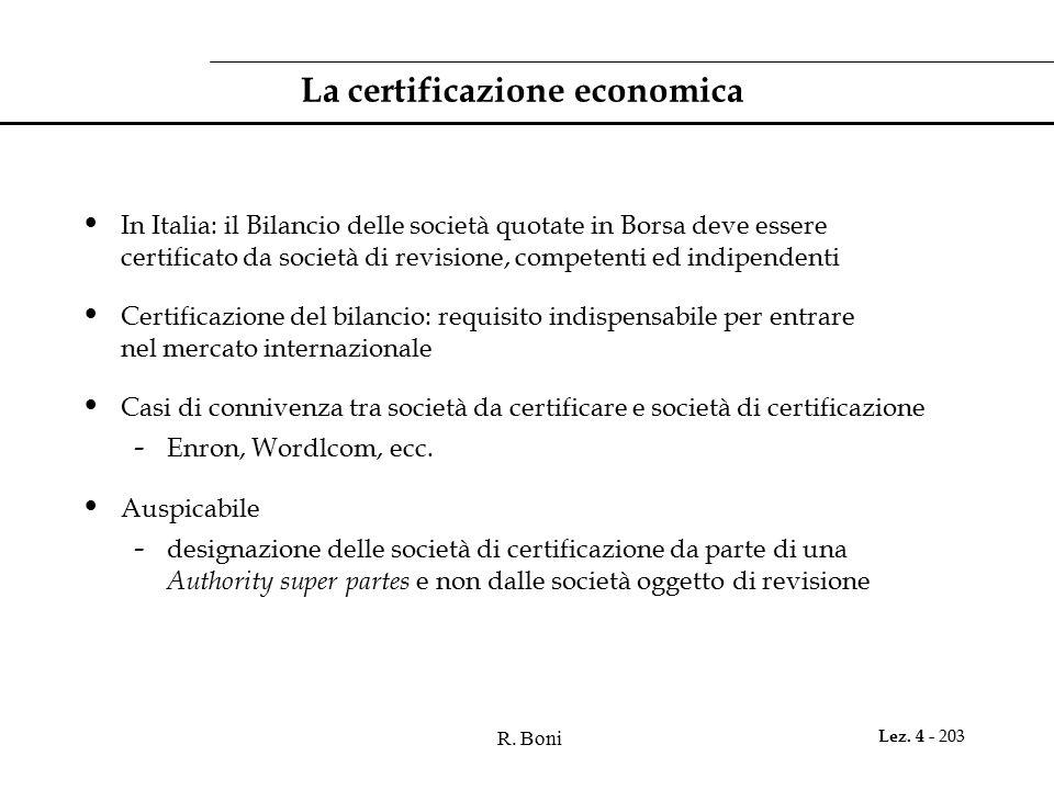 R. Boni Lez. 4 - 203 La certificazione economica In Italia: il Bilancio delle società quotate in Borsa deve essere certificato da società di revisione