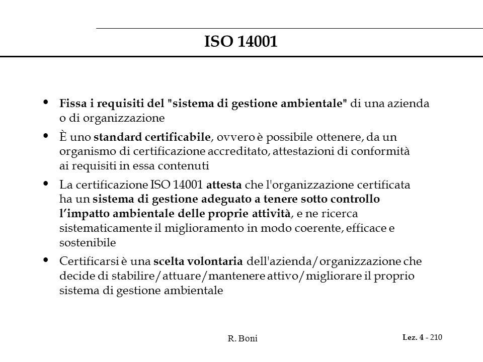 R. Boni Lez. 4 - 210 ISO 14001 Fissa i requisiti del