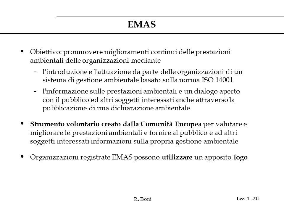 R. Boni Lez. 4 - 211 EMAS Obiettivo: promuovere miglioramenti continui delle prestazioni ambientali delle organizzazioni mediante - l'introduzione e l