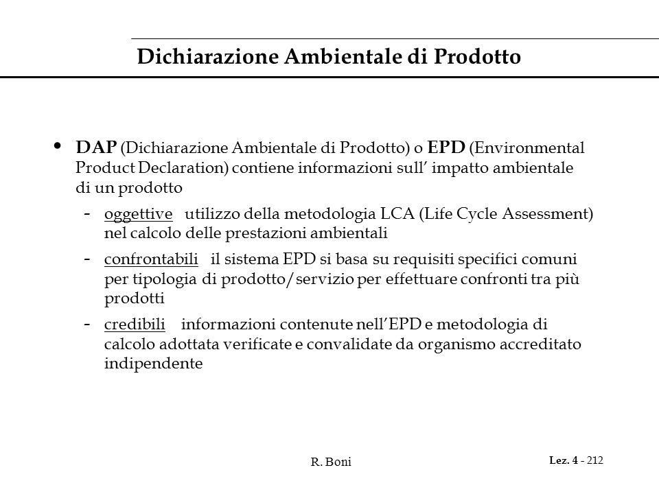 R. Boni Lez. 4 - 212 Dichiarazione Ambientale di Prodotto DAP (Dichiarazione Ambientale di Prodotto) o EPD (Environmental Product Declaration) contien