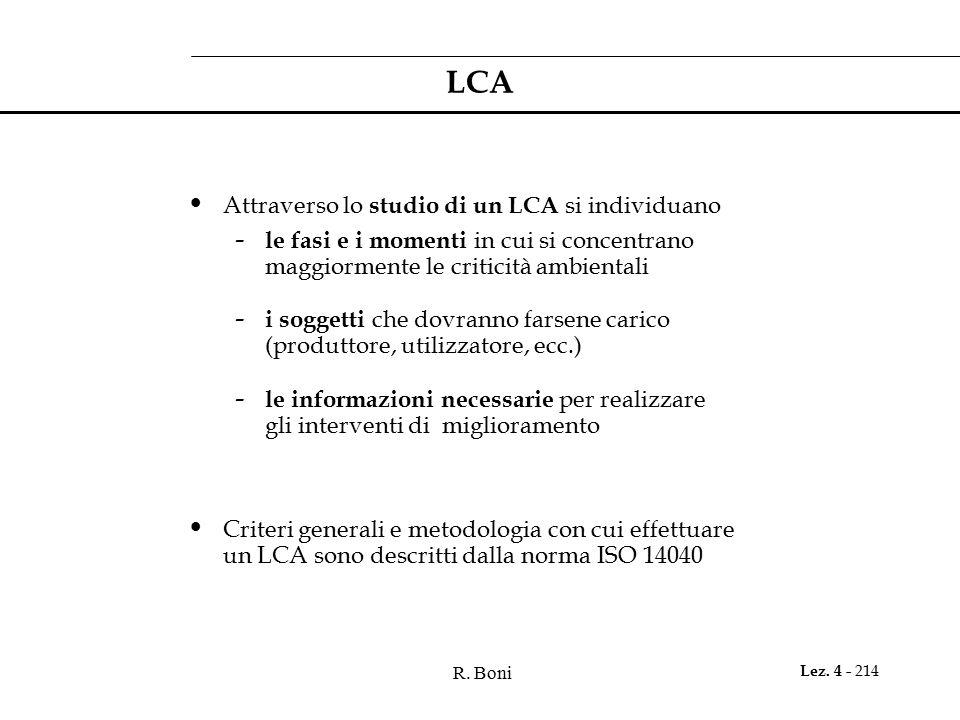 R. Boni Lez. 4 - 214 LCA Attraverso lo studio di un LCA si individuano - le fasi e i momenti in cui si concentrano maggiormente le criticità ambiental