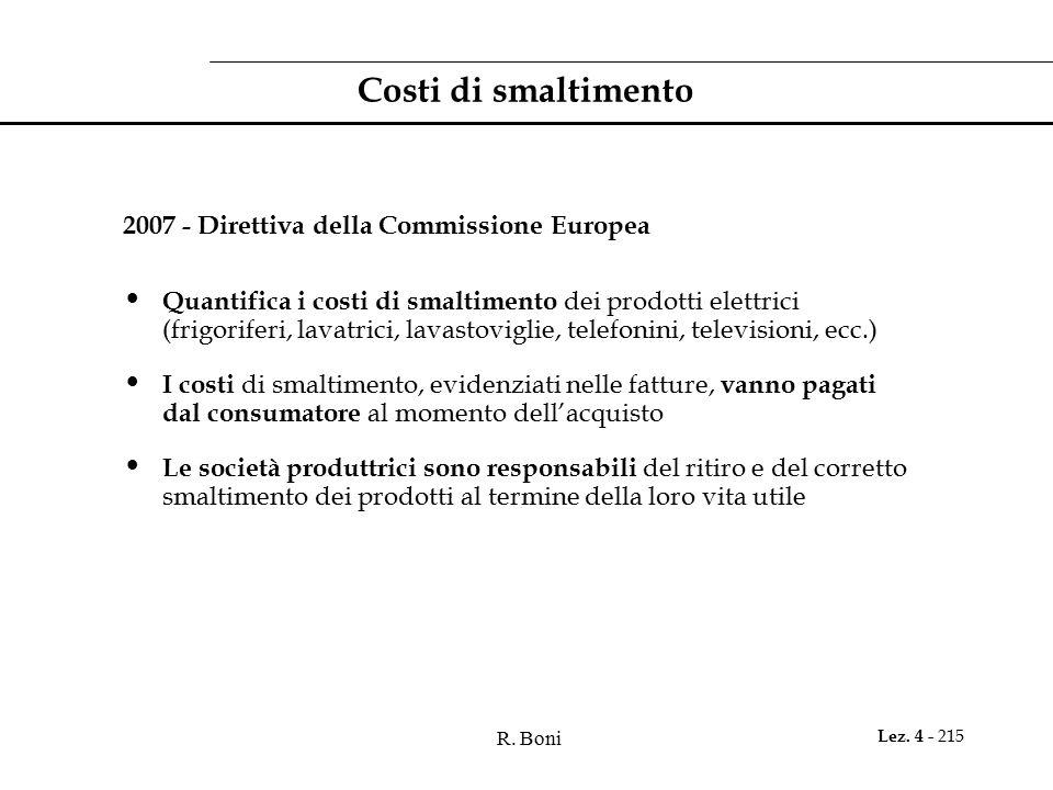 R. Boni Lez. 4 - 215 Costi di smaltimento 2007 - Direttiva della Commissione Europea Quantifica i costi di smaltimento dei prodotti elettrici (frigori