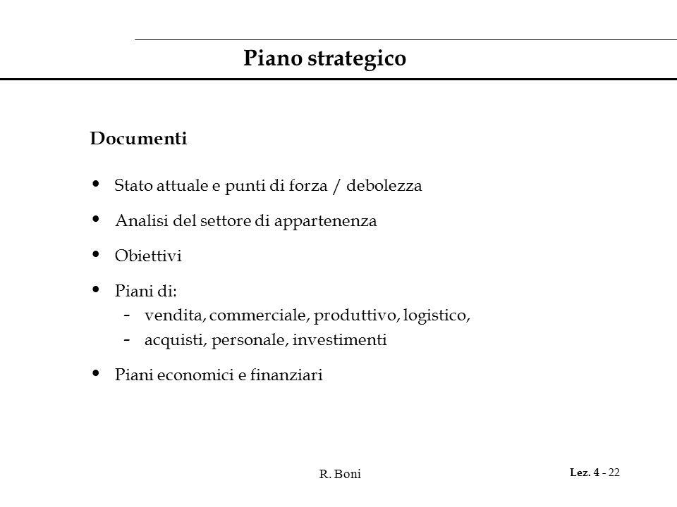 R. Boni Lez. 4 - 22 Piano strategico Documenti Stato attuale e punti di forza / debolezza Analisi del settore di appartenenza Obiettivi Piani di: - ve
