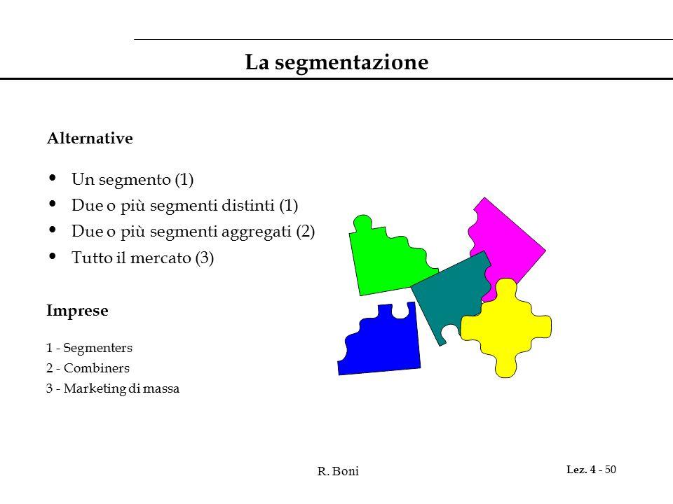R. Boni Lez. 4 - 50 La segmentazione Alternative Un segmento (1) Due o più segmenti distinti (1) Due o più segmenti aggregati (2) Tutto il mercato (3)