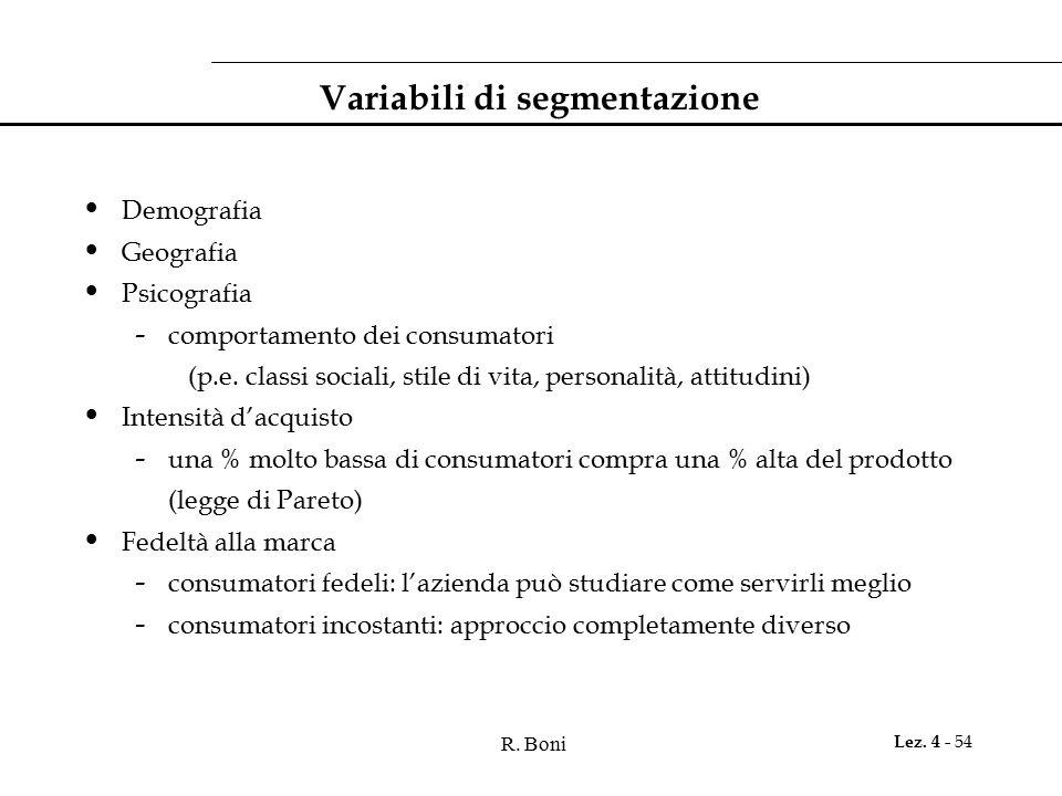R. Boni Lez. 4 - 54 Variabili di segmentazione Demografia Geografia Psicografia - comportamento dei consumatori (p.e. classi sociali, stile di vita, p