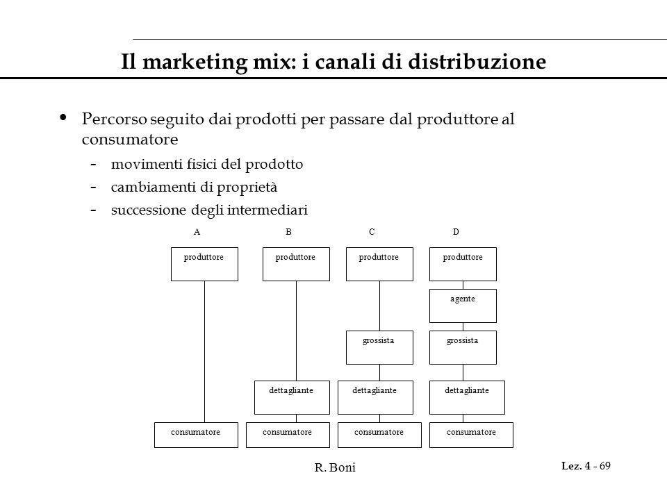 R. Boni Lez. 4 - 69 Il marketing mix: i canali di distribuzione Percorso seguito dai prodotti per passare dal produttore al consumatore - movimenti fi