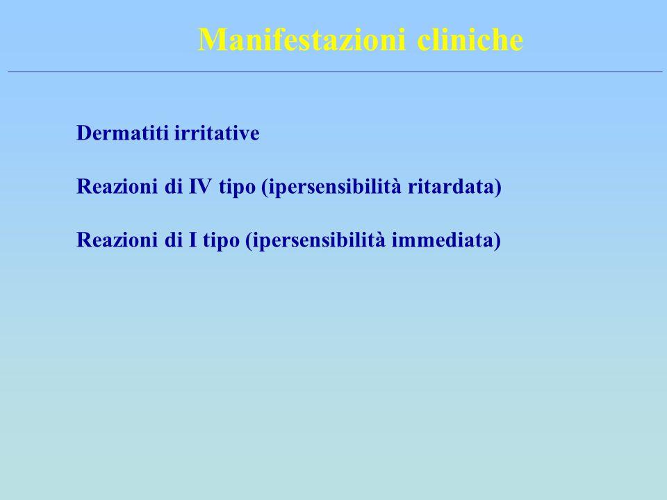 Manifestazioni cliniche Dermatiti irritative Reazioni di IV tipo (ipersensibilità ritardata) Reazioni di I tipo (ipersensibilità immediata)