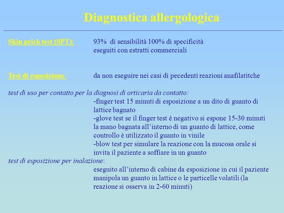 Diagnostica allergologica Skin prick test (SPT):93% di sensibilità 100% di specificità eseguiti con estratti commerciali Test di esposizione:da non es