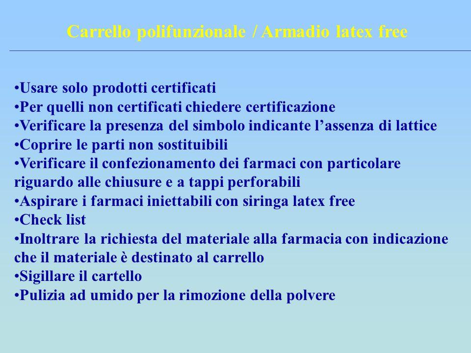 Carrello polifunzionale / Armadio latex free Usare solo prodotti certificati Per quelli non certificati chiedere certificazione Verificare la presenza