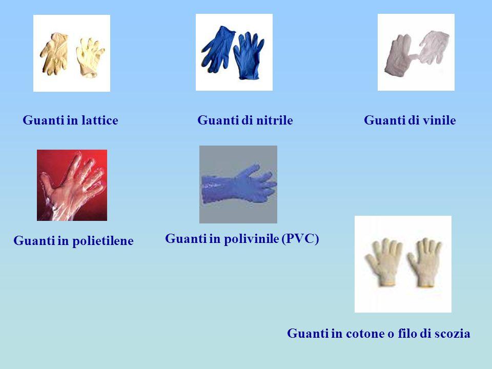 Guanti in latticeGuanti di nitrile Guanti in polivinile (PVC) Guanti in polietilene Guanti in cotone o filo di scozia Guanti di vinile