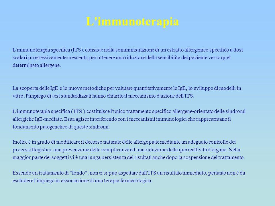 L'immunoterapia L'immunoterapia specifica (ITS), consiste nella somministrazione di un estratto allergenico specifico a dosi scalari progressivamente