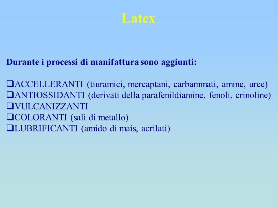 Latex Durante i processi di manifattura sono aggiunti:  ACCELLERANTI (tiuramici, mercaptani, carbammati, amine, uree)  ANTIOSSIDANTI (derivati della