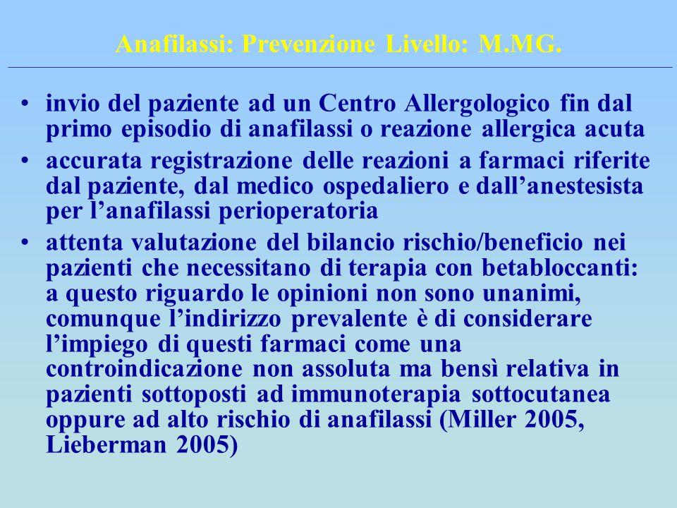Anafilassi: Prevenzione Livello: M.MG. invio del paziente ad un Centro Allergologico fin dal primo episodio di anafilassi o reazione allergica acuta a