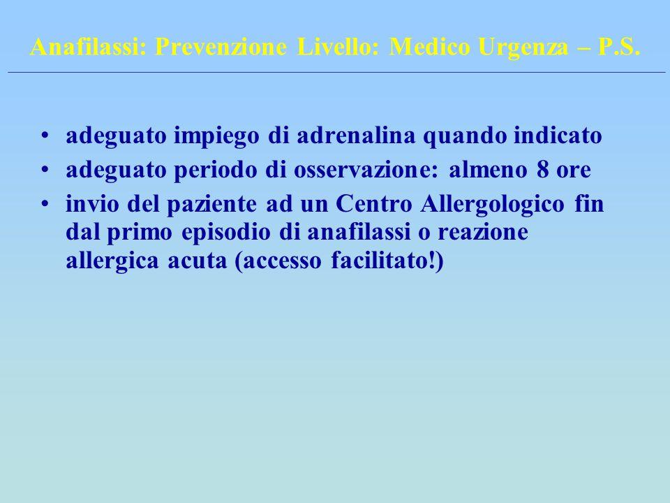 Anafilassi: Prevenzione Livello: Medico Urgenza – P.S. adeguato impiego di adrenalina quando indicato adeguato periodo di osservazione: almeno 8 ore i