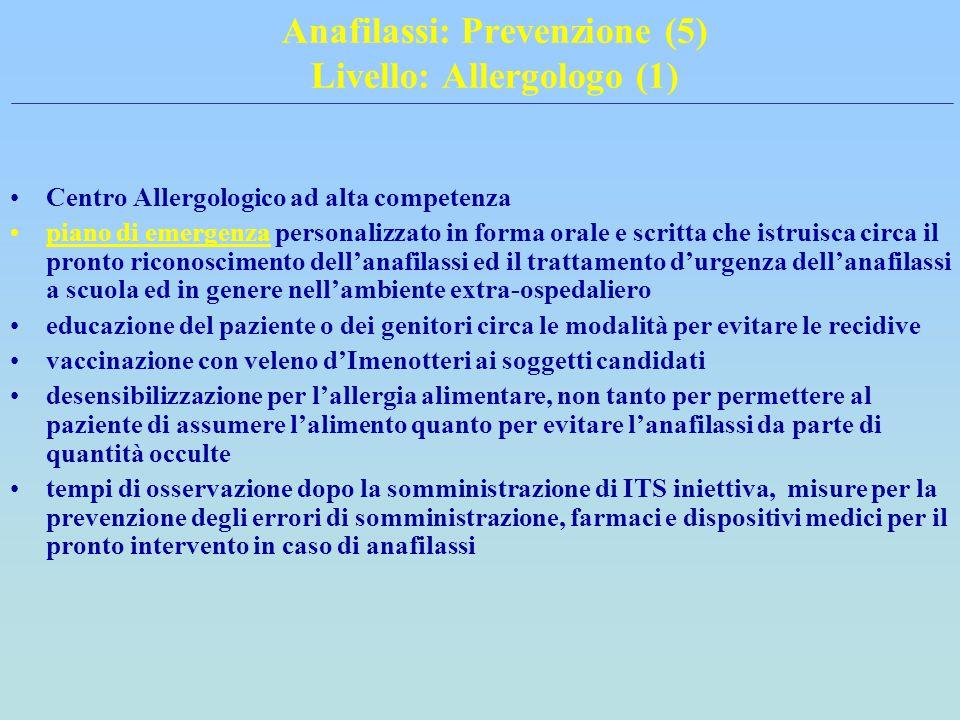 Anafilassi: Prevenzione (5) Livello: Allergologo (1) Centro Allergologico ad alta competenza piano di emergenza personalizzato in forma orale e scritt