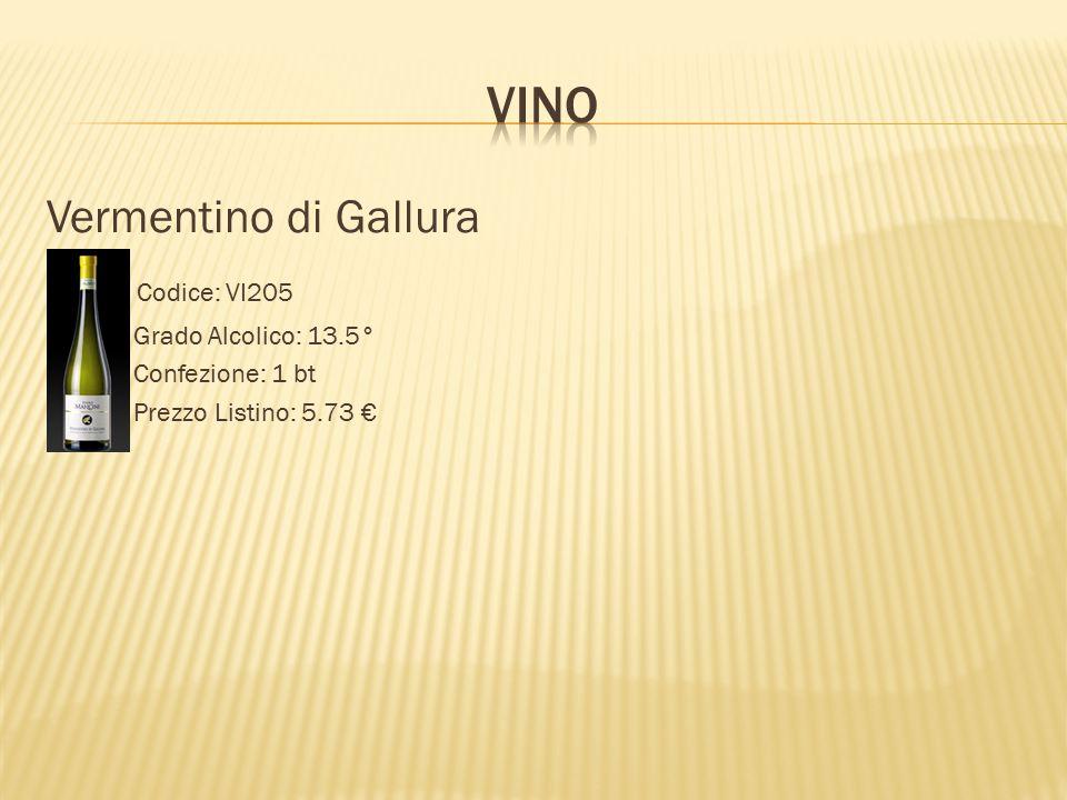 Vermentino di Gallura Codice: VI205 Grado Alcolico: 13.5° Confezione: 1 bt Prezzo Listino: 5.73 €