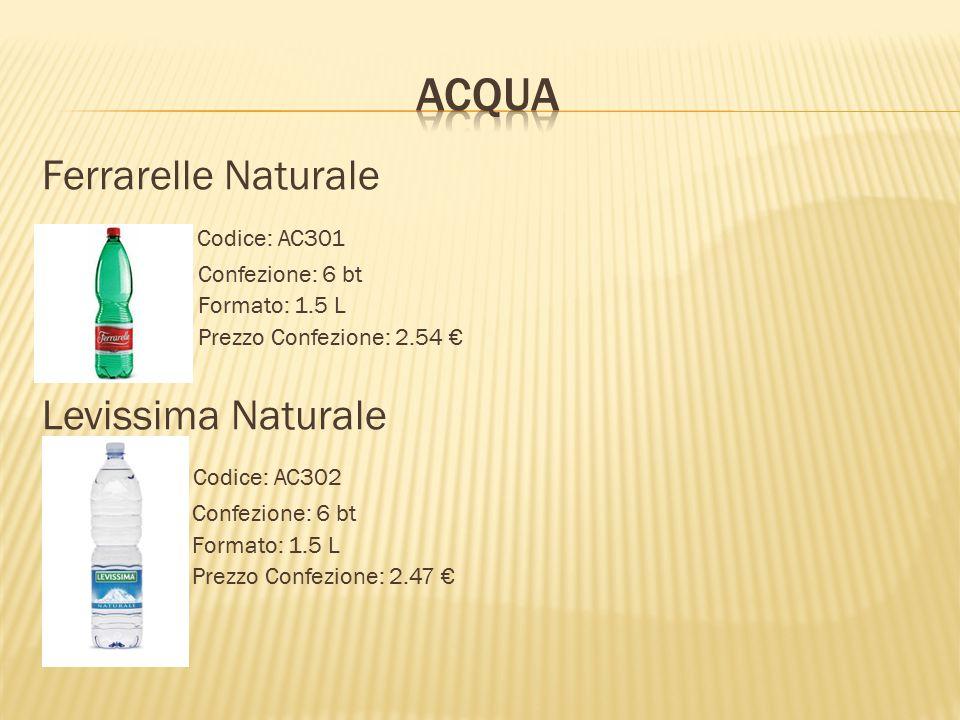 Ferrarelle Naturale Codice: AC301 Confezione: 6 bt Formato: 1.5 L Prezzo Confezione: 2.54 € Levissima Naturale Codice: AC302 Confezione: 6 bt Formato: