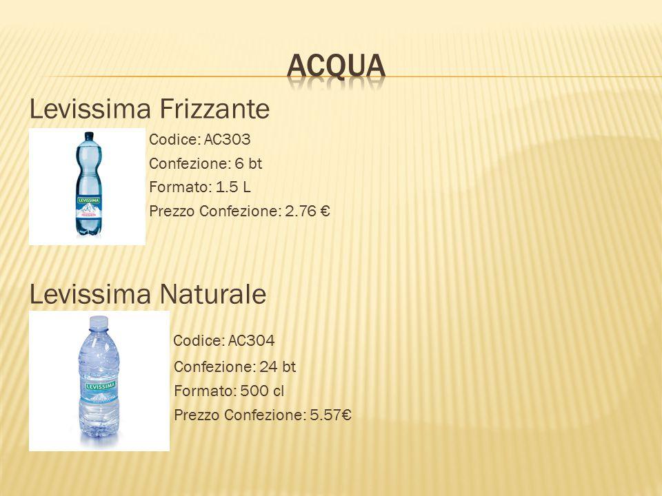 Levissima Frizzante Codice: AC303 Confezione: 6 bt Formato: 1.5 L Prezzo Confezione: 2.76 € Levissima Naturale Codice: AC304 Confezione: 24 bt Formato