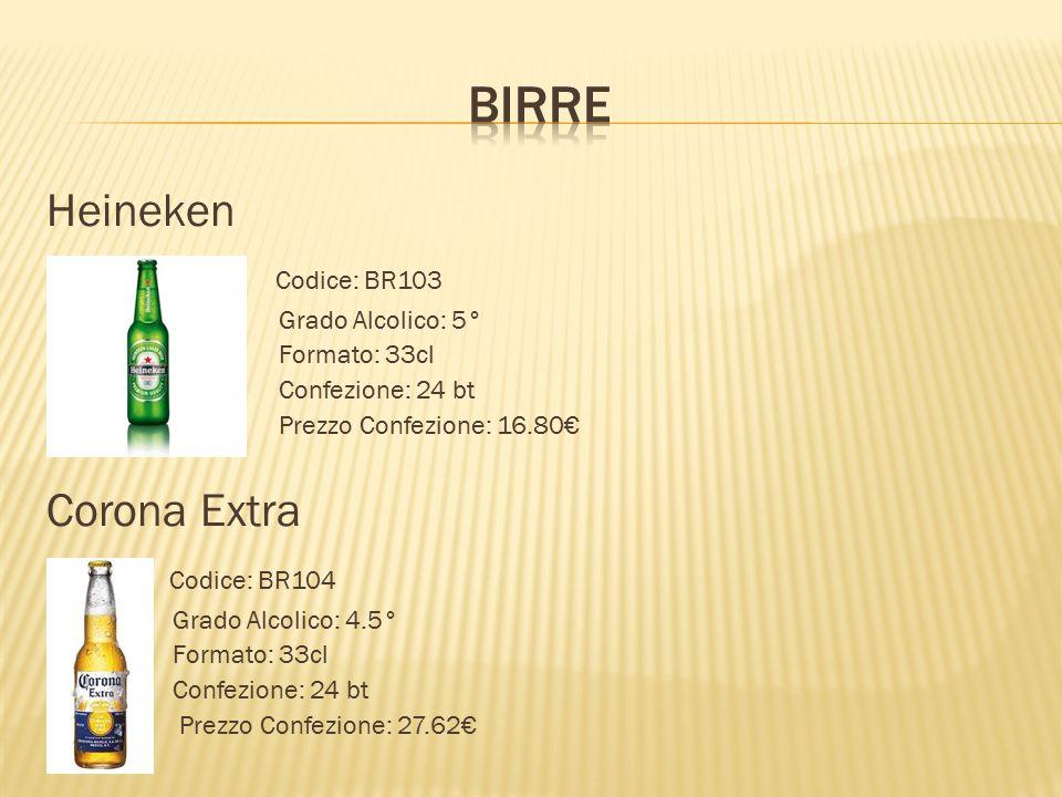 Heineken  Codice: BR103  Grado Alcolico: 5°  Formato: 33cl  Confezione: 24 bt  Prezzo Confezione: 16.80€ Corona Extra  Codice: BR104  Grado Alc
