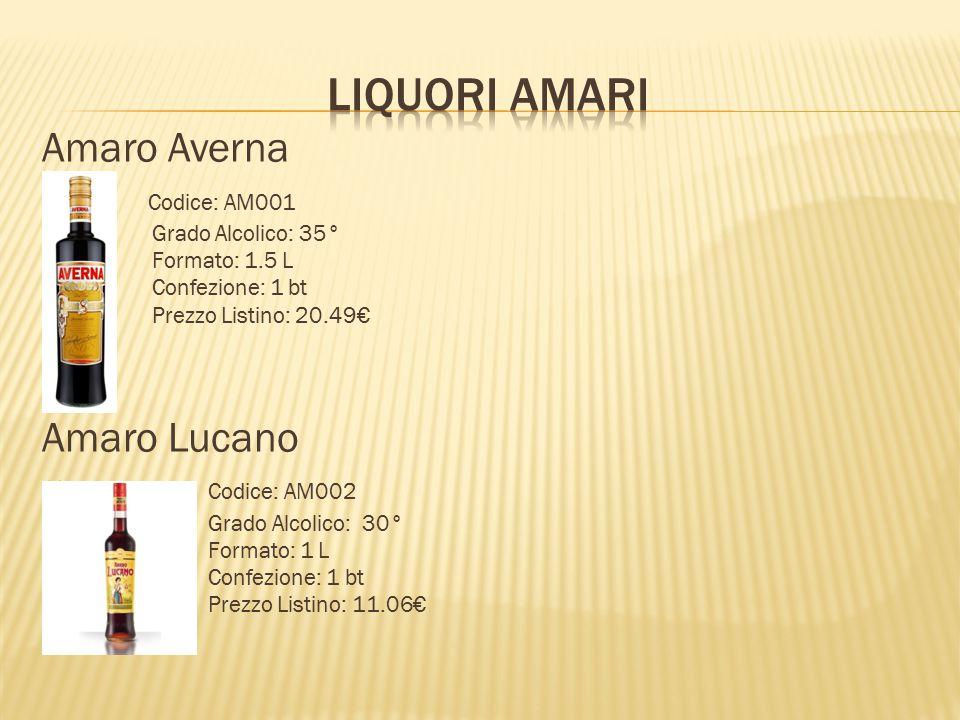 Amaro Averna  Codice: AM001  Grado Alcolico: 35°  Formato: 1.5 L  Confezione: 1 bt  Prezzo Listino: 20.49€ Amaro Lucano  Codice: AM002  Grado A