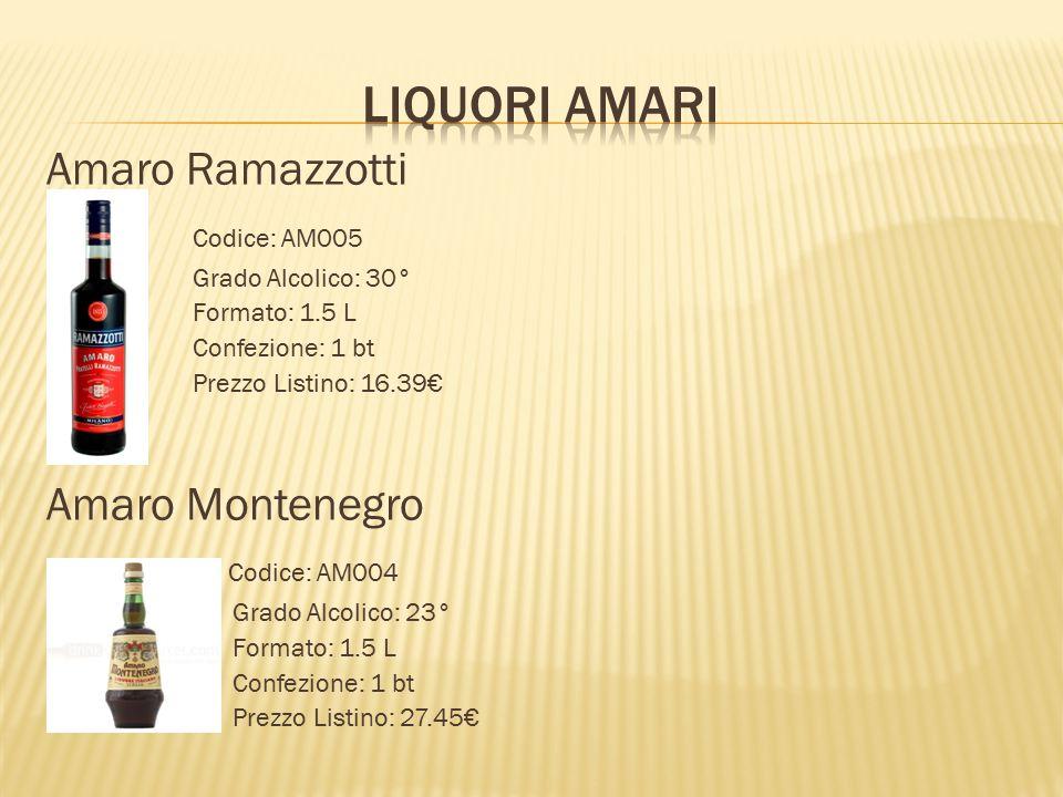 Amaro Ramazzotti  Codice: AM005  Grado Alcolico: 30° Formato: 1.5 L Confezione: 1 bt Prezzo Listino: 16.39€  Amaro Montenegro  Codice: AM004  Gra