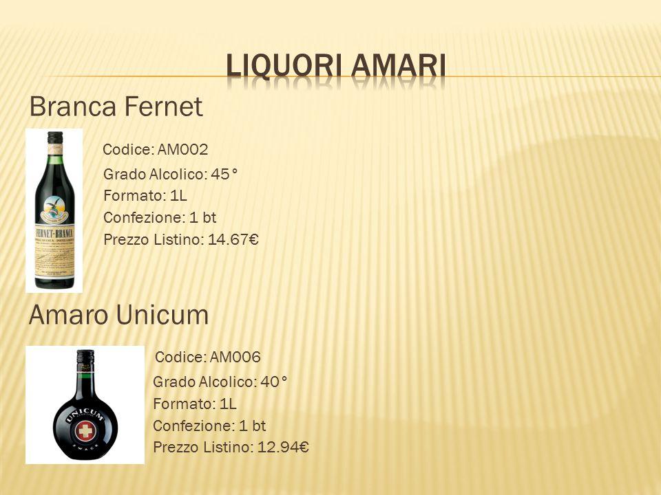 Branca Fernet Codice: AM002 Grado Alcolico: 45° Formato: 1L Confezione: 1 bt Prezzo Listino: 14.67€ Amaro Unicum Codice: AM006 Grado Alcolico: 40° For