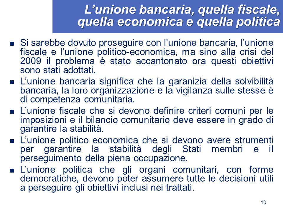 L'unione bancaria, quella fiscale, quella economica e quella politica ■ Si sarebbe dovuto proseguire con l'unione bancaria, l'unione fiscale e l'union